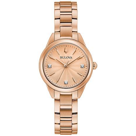 Bulova Rosetone Women's Diamond-Accented Bracelet Watch