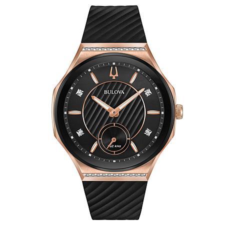 Bulova Women's CURV Diamond Rosetone Black Rubber Strap Watch