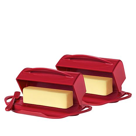 Butterie 2-pack Flip-Top Butter Dishes with Spreaders