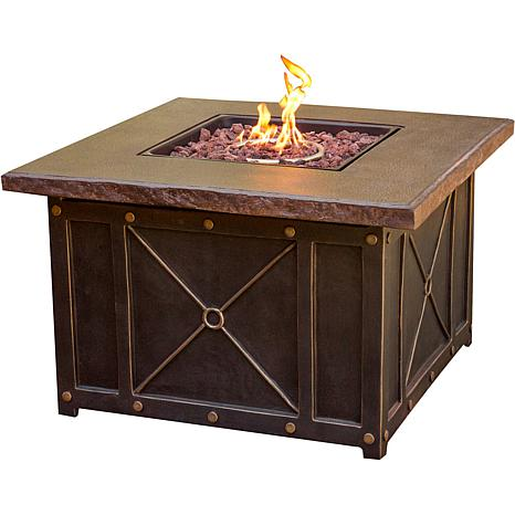 Beau 40 In. Square Gas Fire Pit With Durastone Top   8054600 | HSN