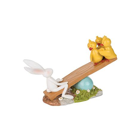 C&F Home Rabbit & Chick Seesawing Figure