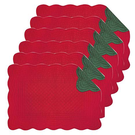 C&F Home Red & Green Cotton Quilted Reversible Oblong Placemat Set 6