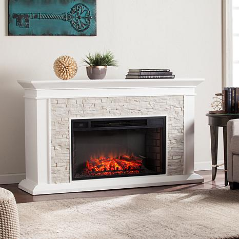 Canyon Heights Faux Stacked Stone Widescreen Electric Fireplace ...