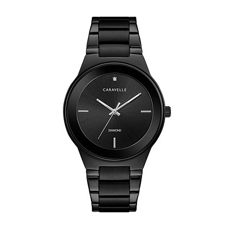 Caravelle Diamond Accent Black Stainless Watch