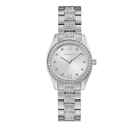 Caravelle Pavé Crystal Stainless Steel Bracelet Watch