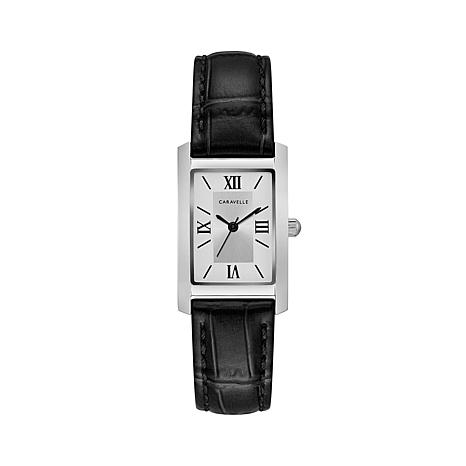 Caravelle Silvertone Rectangular Black Strap Watch