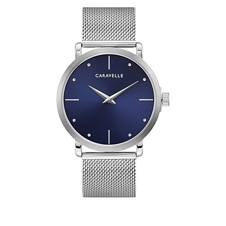 Caravelle Silvertone Stainless Steel Men's Blue Dial Mesh Watch