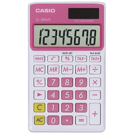 CASIO® SL300VCPLSIH Solar Wallet Calculator w/8-Digit Display - Pink