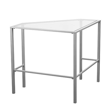 Chace metal glass corner desk silver 8521827 hsn - Metal and glass desks ...