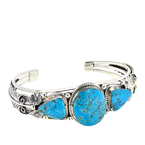 Chaco Canyon 3-Stone Kingman Turquoise Floral Cuff Bracelet