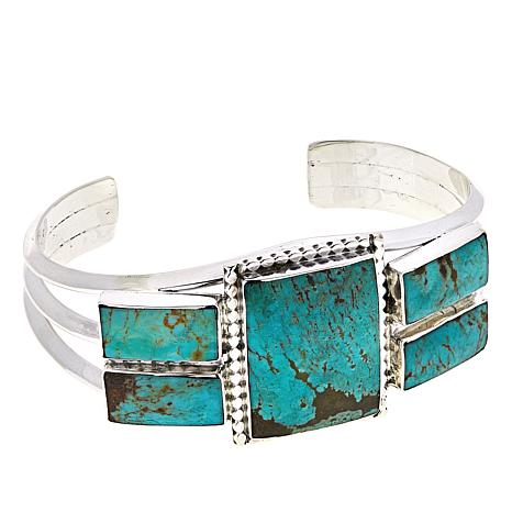 Chaco Canyon Ceremonial & Kingman Turquoise Rectangular Cabochon Cuff