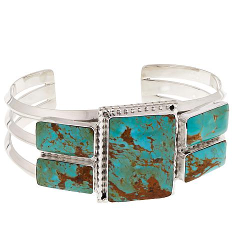 Chaco Canyon Ceremonial Green Kingman Turquoise Sterling Cuff Bracelet