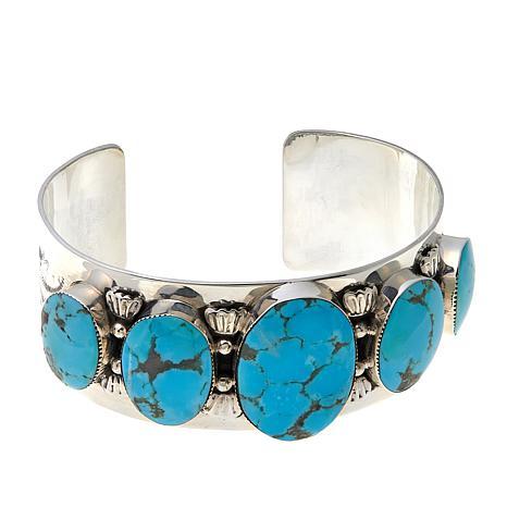 Chaco Canyon Graduated Oval Kingman Turquoise Cuff Bracelet