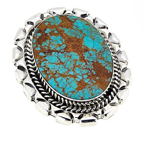 Chaco Canyon Green Turquoise Sterling Silver Statement Ring