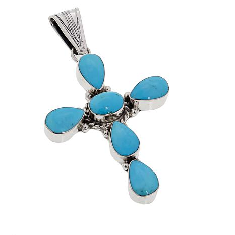 Chaco Canyon Kingman Turquoise Sterling Silver Cross Pendant