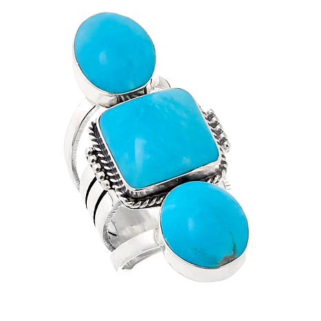 Chaco Canyon Multicut Kingman Turquoise 3-Stone Sterling Silver Ring
