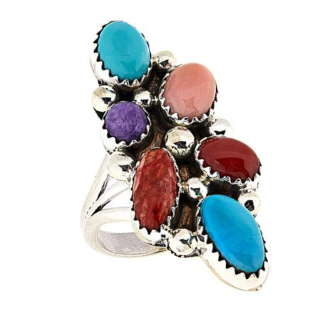 Chaco Canyon Multigemstone Sterling Silver Elongated Cluster Ring