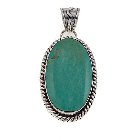 Chaco Canyon Oval Ceremonial Green Kingman Turquoise Pendant