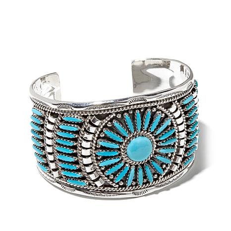 Chaco Canyon Southwest Zuni Turquoise Sterling Silver Cuff Bracelet
