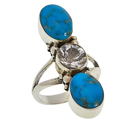 Chaco Canyon Sterling Silver 3-Stone Kingman Turquoise & Gemstone Ring