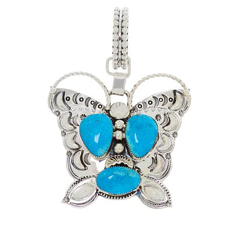 Chaco Canyon Sterling Silver Kingman Turquoise Butterfly Drop Pendant