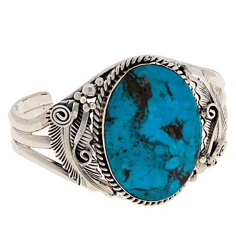 Chaco Canyon Sterling Silver Kingman Turquoise Leaf Cuff Bracelet