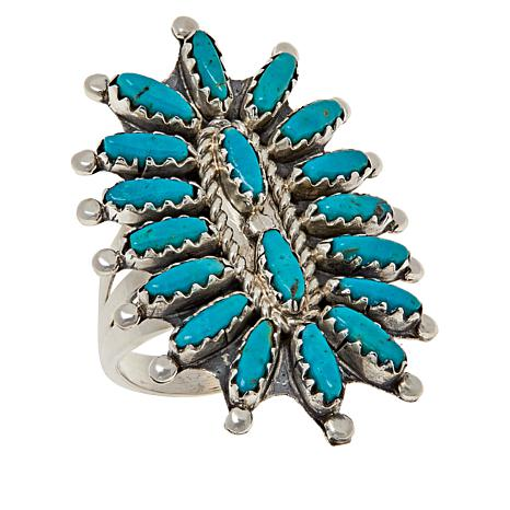 Chaco Canyon Sterling Silver Kingman Turquoise Zuni Statement Ring