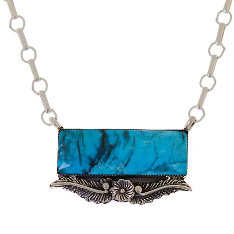 Chaco Canyon Sterling Silver Turquoise Slab Leaf Necklace