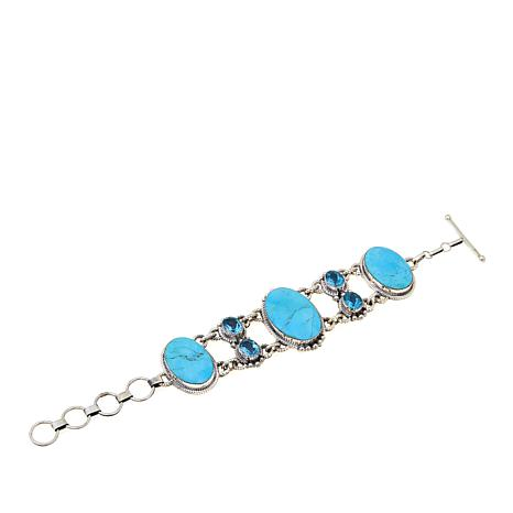 Chaco Canyon Swiss Blue Topaz & Oval Turquoise Bracelet