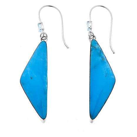 Chaco Canyon Triangular Kingman Turquoise & Swiss Blue Topaz Earrings