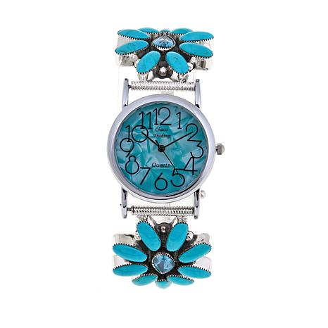 Chaco Canyon Turquoise and Swiss Blue Topaz Watch