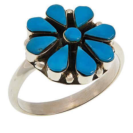 Chaco Canyon Zuni Sleeping Beauty Turquoise Flower Ring