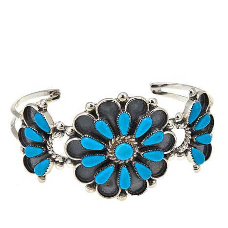 Chaco Canyon Zuni Sleeping Beauty Turquoise Pedi-Point Floral Cuff