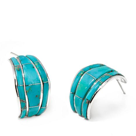 Chaco Canyon Zuni Turquoise Hugger Hoop Earrings