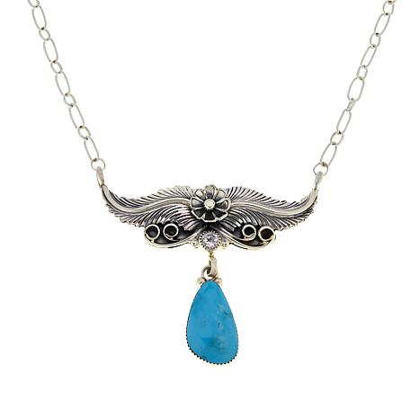 Chaco Couture Sterling Silver Kingman Turquoise Feather Drop Necklace