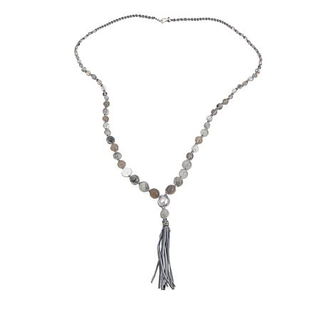 "Chan Luu Gray Quartz and Mixed Stone 36"" Leather Tassel Necklace"