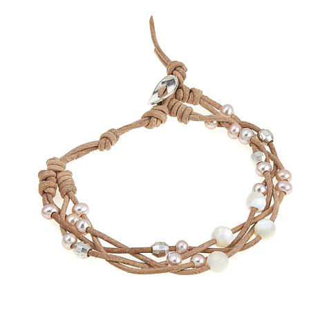 Chan Luu Pink Cultured  Pearl Twisted Beige Leather Cord Bracelet