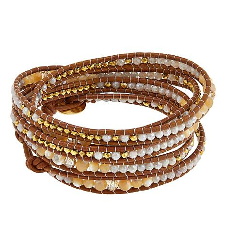 Chan Luu Quartz, Mother-of-Pearl and Crystal Leather Wrap Bracelet