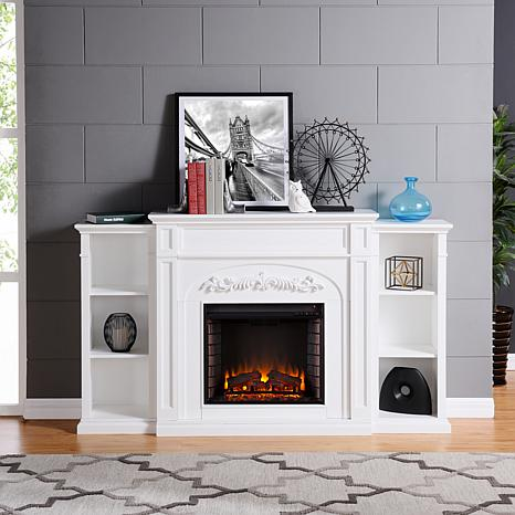 Chantilly Bookcase Electric Fireplace - White