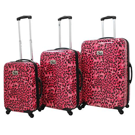 Chariot Pink Leopard 3-piece Luggage Set