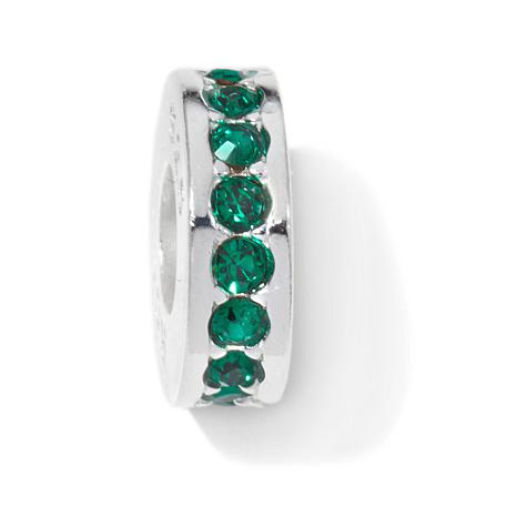 Charming Silver Inspirations Green Crystal Slide Charm