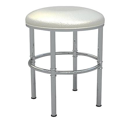 Chelsea Chrome Vanity Stool With White Seat 8488706 Hsn