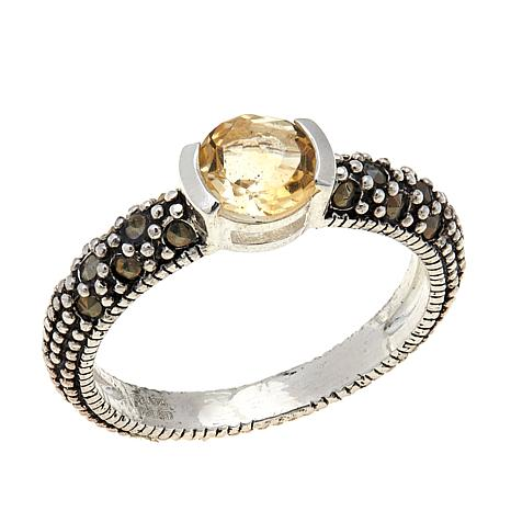 Citrine and Marcasite Sterling Silver Ring - November