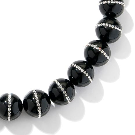 CL by Design Black Agate and Crystal Bead Necklace