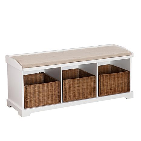Clarendon Entryway Storage Bench - White