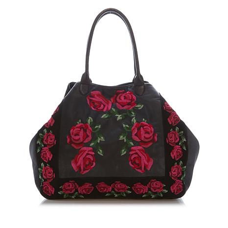 Clever Carriage Embroidered Leather Tote