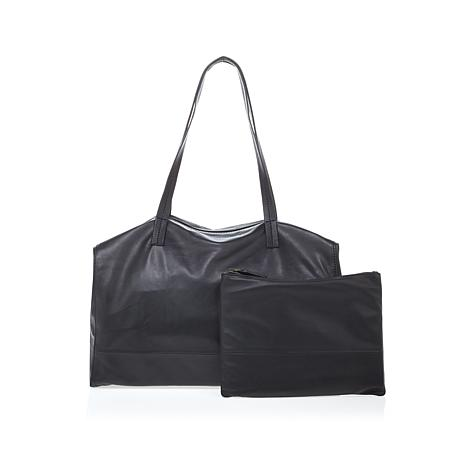 Clever Carriage Leather Schlepper Tote with Mini Bag