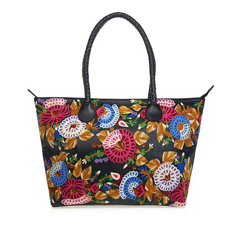 Clever Carriage Rose Garden Leather Shopper