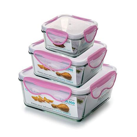 ClipFresh 6 Piece Glass Square Food Storage Container Set   8654841 | HSN