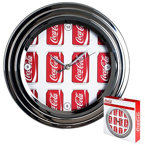"Coca-Cola 11-3/4"" Clock with Chrome Finish - Cans Style"
